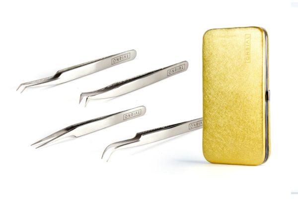 Набор 4 пинцета + чехол на магните (4 серебряных)