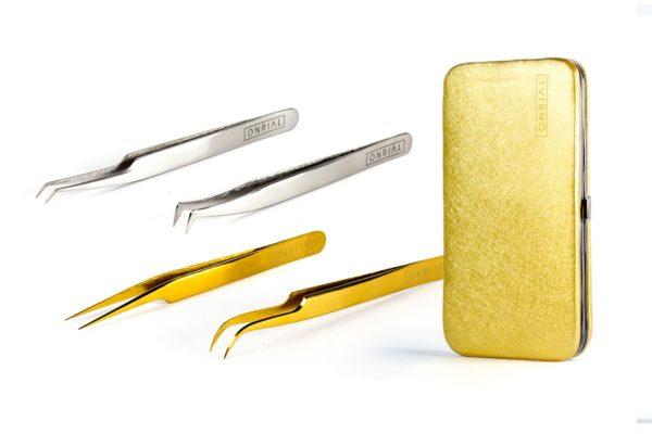 Набор 4 пинцета + чехол на магните (2 серебряных и 2 золотых)