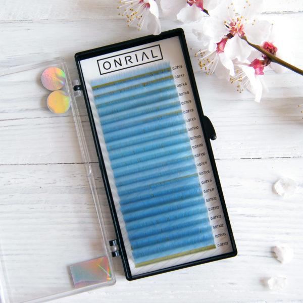 Onrial ресницы для наращивания цветные голубые